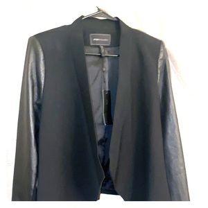 BCBG leather on sleeve cropped jacket